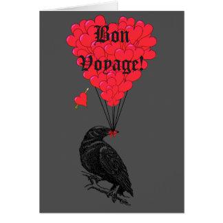 Cuervo y buen viaje góticos del corazón tarjeta pequeña