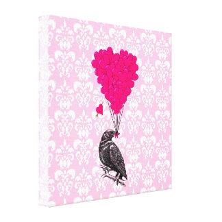 Cuervo y corazón en el damasco rosado lona envuelta para galerías