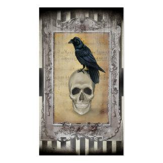 Cuervo y cráneo tarjetas de visita