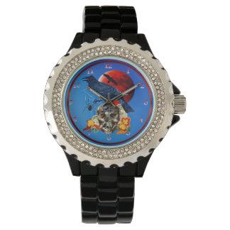 Cuervo y luna roja relojes de pulsera