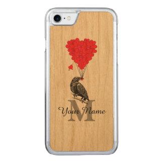 Cuervo y monograma rojo del corazón funda para iPhone 7 de carved
