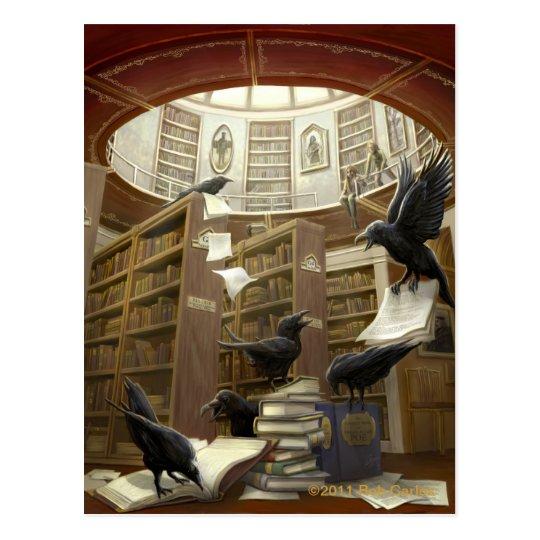 Cuervos en la postal de la biblioteca