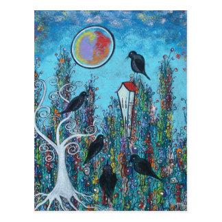 Cuervos en postal que espera