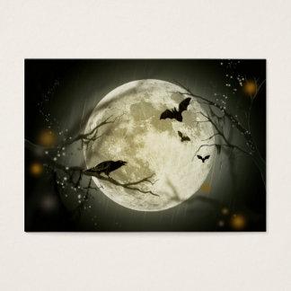 Cuervos fantasmagóricos de la luna de Halloween Tarjeta De Visita
