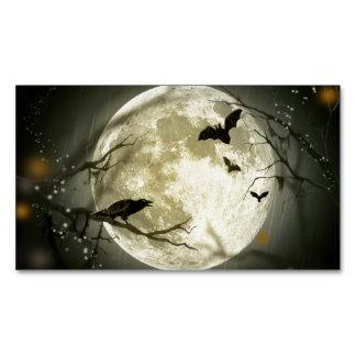 Cuervos fantasmagóricos de la luna de Halloween Tarjeta De Visita Magnética