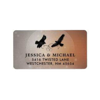 Cuervos y etiqueta de dirección del boda de