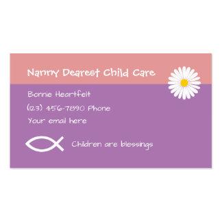 Cuidado de niños cristiano tarjetas de visita