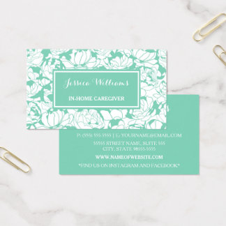 Cuidador femenino floral de la enfermera de la tarjeta de visita