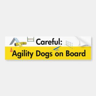 Cuidadoso: Perros de la agilidad a bordo Pegatina Para Coche
