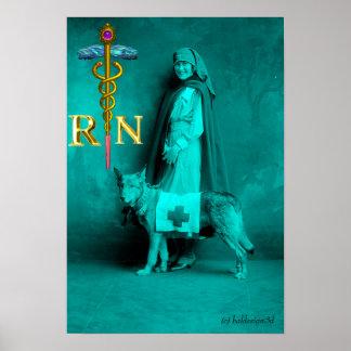 CUIDE Y RESCATE el emblema del RN del caduceo de Póster