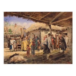 Culto de oración de Vladimir Makovsky- en la granj Postal
