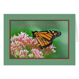 Cumpleaños, 100o, tarjeta de la mariposa de monarc