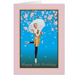 Cumpleaños, 14to, bailarina, flores de cerezo tarjeta de felicitación