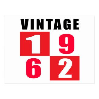 Cumpleaños 1962 del vintage postal