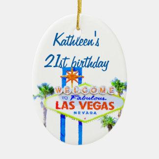 Cumpleaños 21 de Las Vegas Adorno Ovalado De Cerámica