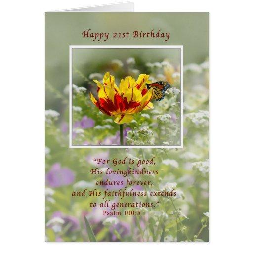 Cumpleaños, 21ro, tulipán y mariposa, religiosos tarjetón