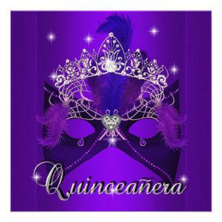Cumpleaños 2 de Quinceanera del brillo púrpura de Invitaciones Personales