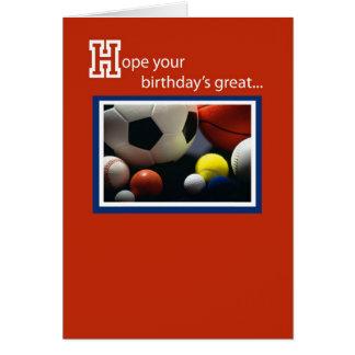 Cumpleaños 3968 todos los deportes tarjeta de felicitación