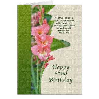 Cumpleaños, 62.o, gladiolo rosado, tarjeta
