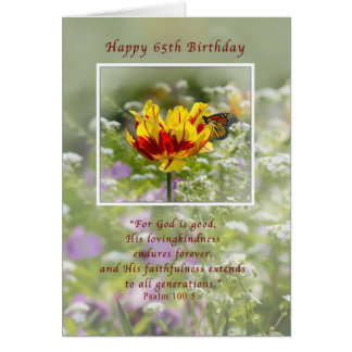 Cumpleaños, 65.o, tulipán y mariposa, religiosos tarjeta de felicitación