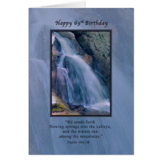 Cumpleaños, 69.o, religioso, cascada de la montaña tarjeta de felicitación