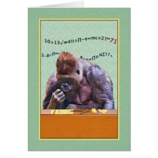 Cumpleaños, 71.o, gorila en el escritorio tarjeta de felicitación
