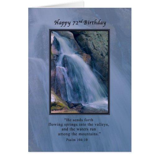 Cumpleaños, 72.o, religioso, cascada de la montaña tarjetón
