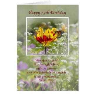 Cumpleaños, 75.o, tulipán y mariposa, religiosos tarjeta de felicitación