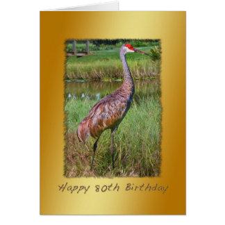 Cumpleaños, 80.o, pájaro de la grúa de Sandhill Tarjeta De Felicitación