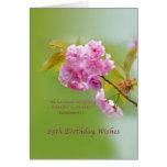 Cumpleaños, 85o, flores de cerezo, tarjeta religio