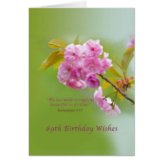 Cumpleaños, 89.o, flores de cerezo, tarjeta religi