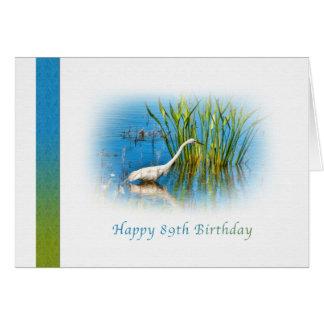Cumpleaños, 89.o, gran Egret en la charca Tarjeta De Felicitación
