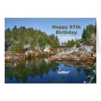 Cumpleaños, 97.o, lago mountain, tarjeta del cisne