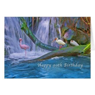 Cumpleaños, 99.o, cascada tropical, pájaros tarjeta de felicitación