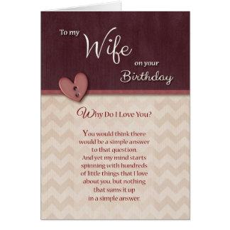 ¿Cumpleaños a la esposa - por qué haga te amo? Tarjeta De Felicitación