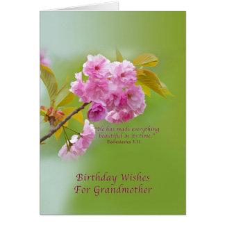 Cumpleaños, abuela, flores de cerezo, religiosas tarjeta de felicitación