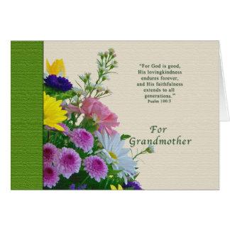 Cumpleaños, abuela, ramo floral, religioso tarjetas