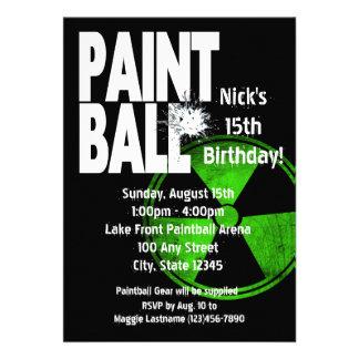 Cumpleaños activo de radio de Paintball Invitacion Personal