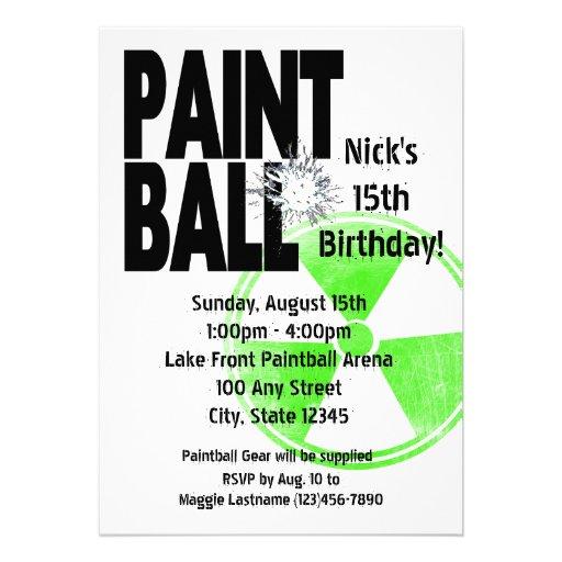 Cumpleaños activo de radio de Paintball Invitacion Personalizada