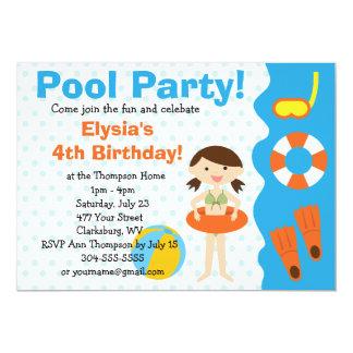 Cumpleaños adaptable de la fiesta en la piscina invitación 12,7 x 17,8 cm