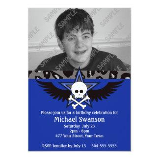 Cumpleaños adolescente azul y negro invitación 12,7 x 17,8 cm