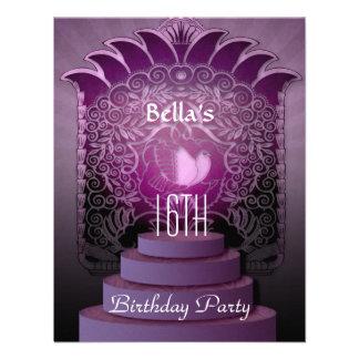 cumpleaños adolescente de la lila del corazón del invitacion personalizada