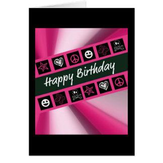 Cumpleaños adolescente de las rosas fuertes tarjeta