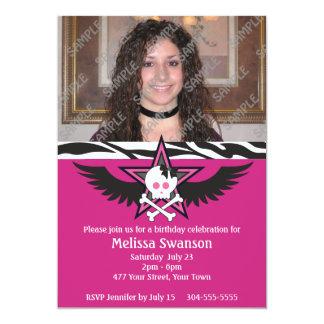 Cumpleaños adolescente púrpura y negro invitación 12,7 x 17,8 cm