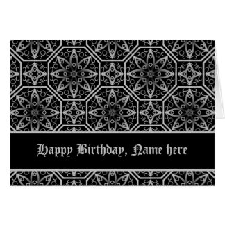 Cumpleaños afiligranado medieval gótico del felicitacion