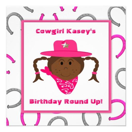 Cumpleaños afroamericano de la vaquera de los niño anuncios