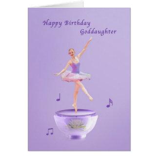 Cumpleaños, ahijada, bailarina de la caja de tarjeta de felicitación