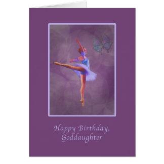 Cumpleaños, ahijada, bailarina en Arabesque Tarjeta De Felicitación
