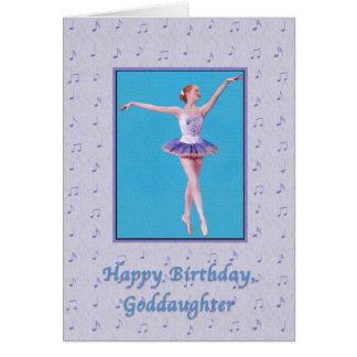 Cumpleaños, ahijada, bailarina en punto tarjeta de felicitación