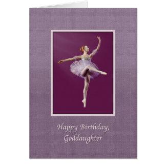 Cumpleaños, ahijada, bailarina en púrpura tarjeta de felicitación